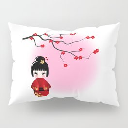 Japanese kokeshi doll at sakura blossoms Pillow Sham