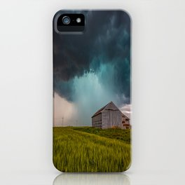 Rainy Day - Storm Passes Behind Barn in Southwest Oklahoma iPhone Case