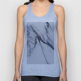 White Marble with Black and Blue Veins Unisex Tank Top