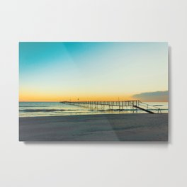 Sandy beaches of Rimini shortly after dawn in winter Metal Print