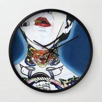 lydia martin Wall Clocks featuring Lydia by Skull Car Steveo
