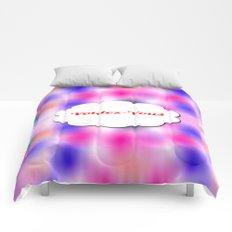voulez-vous, text image, tie dye, multicolor, colorful, trendy design, abstract, arty, spring, pop Comforters