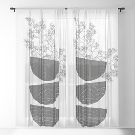 Vibration - Minimalism Mid-Century Modern Forms Sheer Curtain