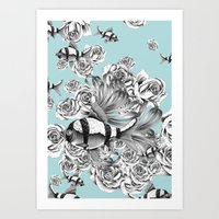 """""""In a bed of roses"""" Art Print"""
