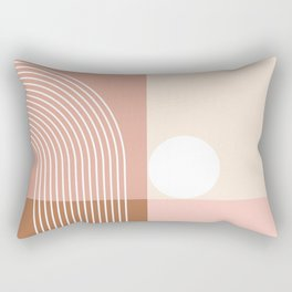 Geometric Blocks and Lines in Terracotta Beige Shades (Sun and Rainbow abstraction) Rectangular Pillow