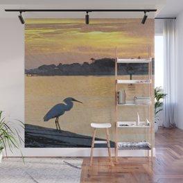 Egret Sunrise Wall Mural