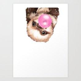 Baby Sloth Playing Bubble Gum Art Print
