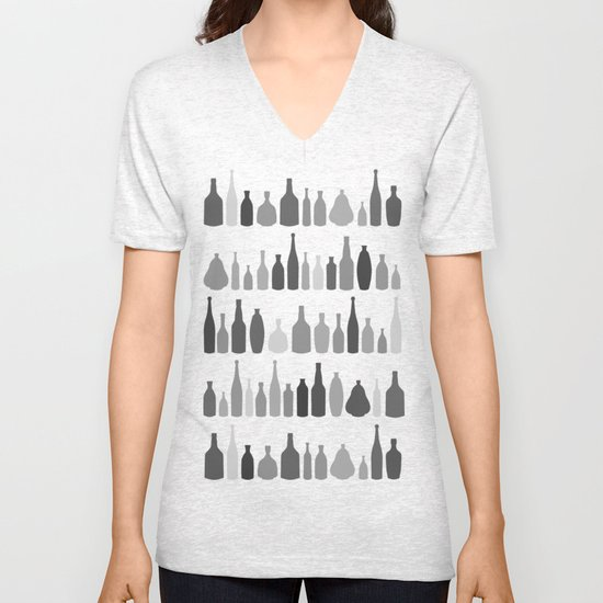 Bottles Black and White on White Unisex V-Neck