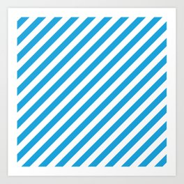 Oktoberfest Bavarian Blue and White Candy Cane Stripes Art Print
