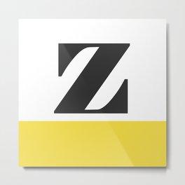 Monogram Letter Z-Pantone-Buttercup Metal Print