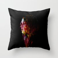jennifer lawrence Throw Pillows featuring Jennifer Lawrence in Watercolor.  by savingmypromises