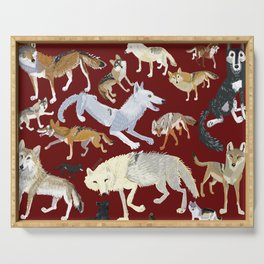 Wolves of the world Red Version Serving Tray