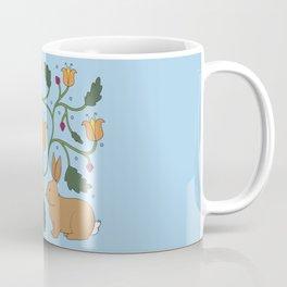 Rabbits in the Garden Folk Art Coffee Mug