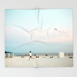 Running Beach Throw Blanket