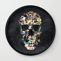 motivation Wall Clocks featuring Vintage Skull by Ali GULEC
