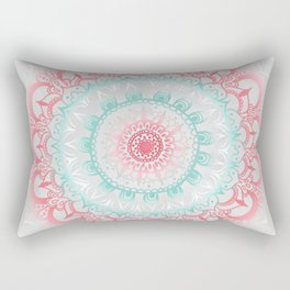 Teal & Coral Glow Medallion Rectangular Pillow