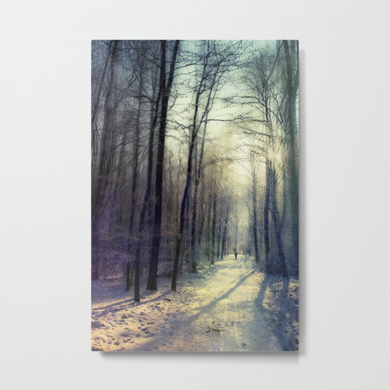 cold prism - hike through winter forest Metal Print