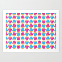 cupcakes Art Prints featuring Cupcakes by Apple Kaur