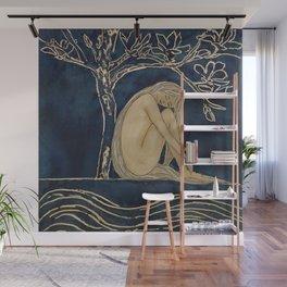 Girl sleeping under magnolia flowers Wall Mural