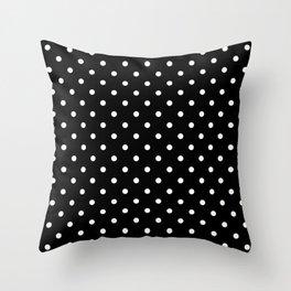 Licorice Black with White Polka Dots Throw Pillow
