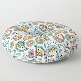 Hedgehog Paisley_Colors and White Floor Pillow