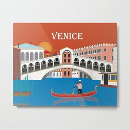 Venice, Italy - Skyline Illustration by Loose Petals Metal Print