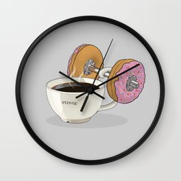 Strong Coffee Lifting Donut Dumbbell Wall Clock