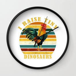 I Raise Tiny Dinosaurs Vintage Retro 70S Chicken Silhouette funny T-Shirt  Wall Clock