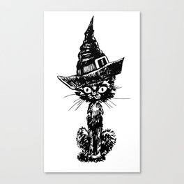 Doodle black cat with witch hat. Halloween design. Canvas Print