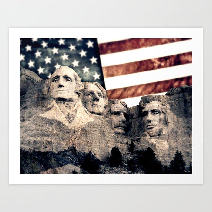 Patriotic Mount Rushmore Art Print