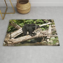 The Fisherman- Black Bear and Stream Rug