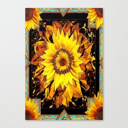 Western Sunflowers in Old Gold, Brown's & Black Art Design Canvas Print