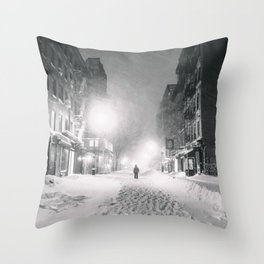 Alone in a Blizzard - New York City Throw Pillow