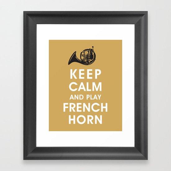 Keep Calm and Play French Horn Framed Art Print