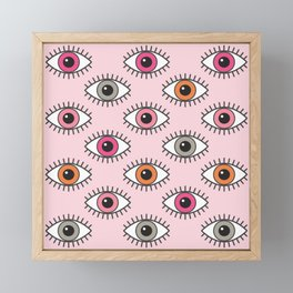 EYES WIDE OPEN - PASTEL PINKS Framed Mini Art Print