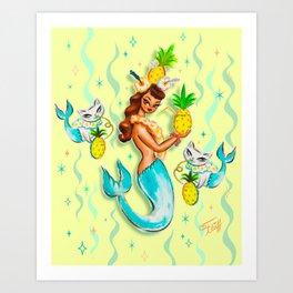 Tropical Pineapple Mermaid with Merkitties Art Print
