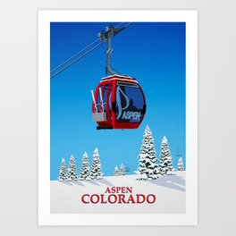 Aspen Colorado Ski Resort Cable Car Art Print