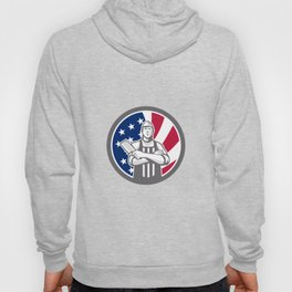 American Butcher Front USA Flag Icon Hoody