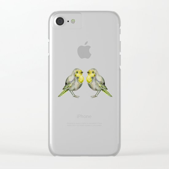 Little Yellow Birds Clear iPhone Case