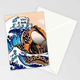 Kraken in Kanagawa Wave Stationery Cards