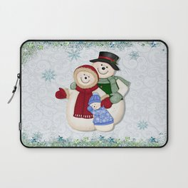 Snowman and Family Glittered Laptop Sleeve