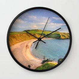 Porthor Bay at Sundown Wall Clock