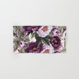 Purple Plum Pink Watercolor Peonies and Greenery Hand & Bath Towel
