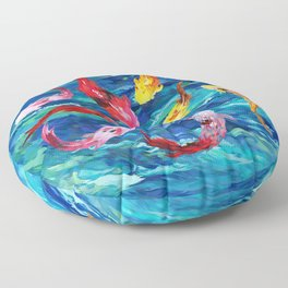 Koi fish rainbow abstract paintings Floor Pillow