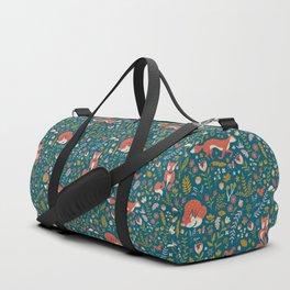 Fall Fox on Blue Duffle Bag