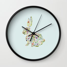 Spring Flowers Bunny on Blue Wall Clock