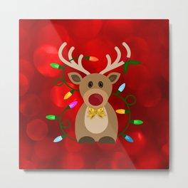 Christmas Reindeer in Lights Metal Print