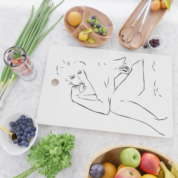 Woman Nude Minimal Drawing Cutting Board