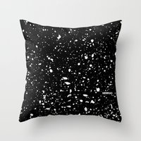 Retro Speckle Print - Black Throw Pillow