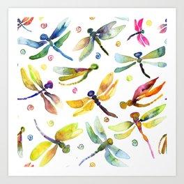 Watercolor Dragonfly Bursting by Michelle Scott of dotsofpaint studios Art Print